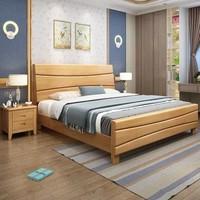 丰圆藤木 橡胶木新中式实木床储物双人床1.5M1.8米经济型新现代工艺简约主卧室婚床(1.8*2米原木色 单床)