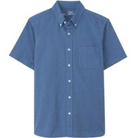 MUJI 无印良品 17SC720 纽扣领短袖衬衫