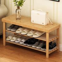 兴和家缘 鞋架简易家用省空间经济型实木可坐多层鞋柜收纳换鞋凳