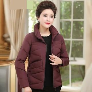 恒源祥 短款羽绒服女冬季妈妈装加厚白鸭绒中老年女装保暖羽绒外套 深紫色 401185