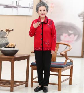 恒源祥 妈妈春季羊毛针织外套女中老年人镶钻开衫奶奶洋气上衣毛衣 503180