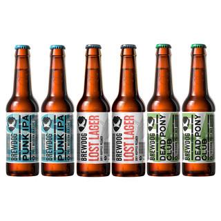 Brewdog 酿酒狗 英国精酿啤酒 小马鬼 迷失拉格3口味6瓶 330ml 瓶装