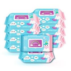 童思童语(Tyotyo)婴儿儿童手口湿巾80片*10包便携带盖抽纸湿巾