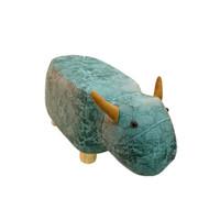 SCNDEWMY 实木动物凳子 湖蓝小牛
