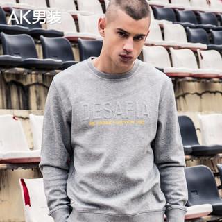 AK男装都市特工字母走针圆领卫衣1805006 灰色M *2件