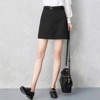 京东PLUS会员 : 丝柏舍  S91R0131BA10M  简约高腰A字裙短款半身裙