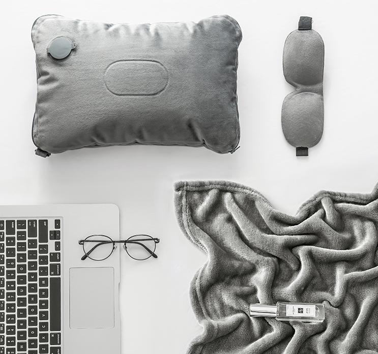 京东京造 三合一多用出行三件套 枕头+盖毯+眼罩