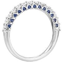 Blue Nile 隐藏式蓝宝石&钻石 14k白金戒指(1/2克拉总重量)