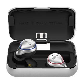 mifo 魔浪 蓝牙耳机真无线双耳超小迷你隐形耳塞式 (银白色、通用、IPX7)