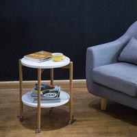 爱必居 茶几 北欧简约可移动橡木小圆桌茶几桌 实木咖啡桌子 边几茶桌 白色