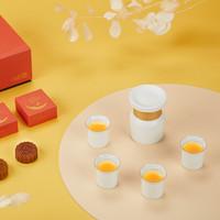 ZENS哲品「月有梦」中秋礼盒月饼套装 一壶四杯陶瓷竹编+2块茶味月饼