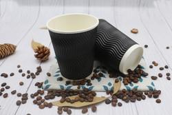 碧海防烫黑色瓦楞咖啡杯纸杯一次性奶茶杯家用打包杯子网红杯