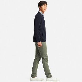 Uniqlo优衣库 男装AIRism开衫 414498 (墨绿色、L)