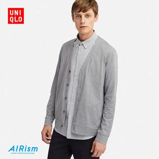 Uniqlo优衣库 男装AIRism开衫 414498 (墨绿色、M)