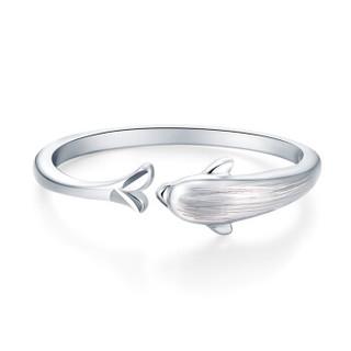 LOVING 爱在此时 铂金戒指pt950海豚拉丝戒指 海豚戒指 (活口、2.35)