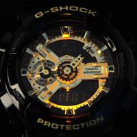 卡西欧(CASIO)男表G-SHOCK系列 双显运动手表 防水防震大表盘时尚石英腕表 GA-110GB-1A