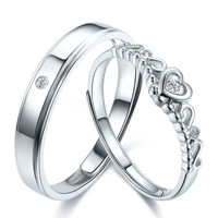 如金岁月 PT950铂金戒指 白金铂金对戒男女款 钻石戒指钻石对戒 结婚求婚情侣戒指 ZJKK042