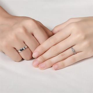 如金岁月 PT950铂金戒指 白金铂金对戒男女款 钻石戒指钻石对戒 活口可调节 结婚求婚情侣戒指 铂金对戒  ZJKK042