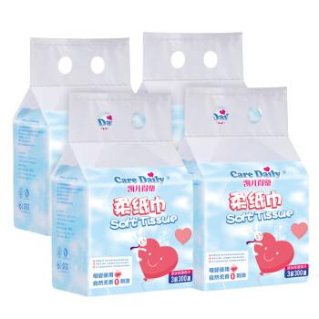 Care Daily 凯儿得乐 母婴用品 凯儿得乐(care daily)婴儿抽纸巾4提/20包 (60-99抽、湿巾、60-99抽)