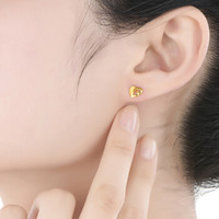 六福珠宝 GDG50023 足金磨沙心形黄金耳钉耳饰