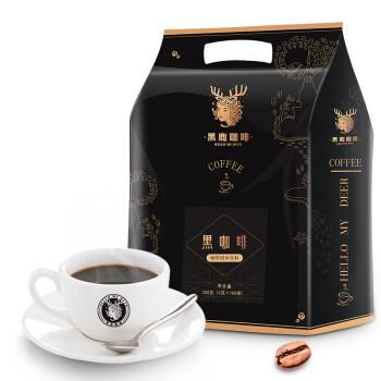 HELLO MY DEER 黑鹿咖啡 黑鹿(HELLO MYDEER)黑咖啡无加糖速溶燃低脂特浓美式咖啡粉 醇香100杯   袋装