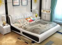 忆斧至家 现代简约双人床 皮床+5D乳胶床垫+2柜 1.8米