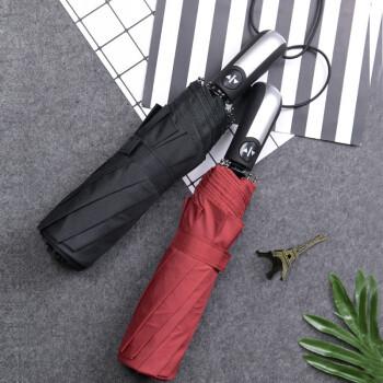 添晴 全自动雨伞 男士商务折叠伞大号双人三折成人男女自开自收雨太阳伞 10骨大伞105CM黑色