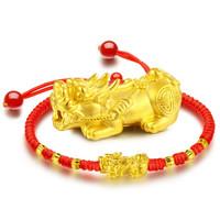 Red Year 红色年轮 黄金手链貔貅转运珠本命年红绳手链路路通3D硬金男女款 115008BFB108