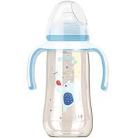pigeon 贝亲 宽口径PPSU塑料彩绘奶瓶 贝亲奶瓶  吸管奶瓶 坐立喝奶 蓝色-LL号奶嘴9个月以上AA172