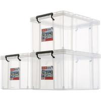 Jeko&Jeko SWB-5219 抗压塑料透明收纳箱   45L加厚3只装大号