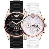 阿玛尼(ARMANI)手表欧美钢带日历石英腕表商务男士女士款情侣手表一对 AR5905+AR5920