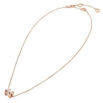 BVLGARI 宝格丽 项链B.zero1系列18K玫瑰金螺旋饰密镶钻石 351116 CL857518