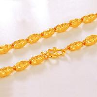 金世喜 珠宝 999足金 黄金橄榄珠男女士黄金项链 女生时尚项链 成熟男士黄金项链