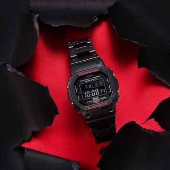 卡西欧(CASIO)小方块男表G-SHOCK系列数字显示多功能运动石英手表时尚腕表 电波太阳能 GW-B5600HR-1