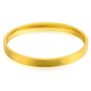 纯福黄金 3D硬金光面金镯子