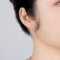 六福珠宝 G08TBGE0003 足金简约几何黄金耳环不对称耳钉女款耳饰