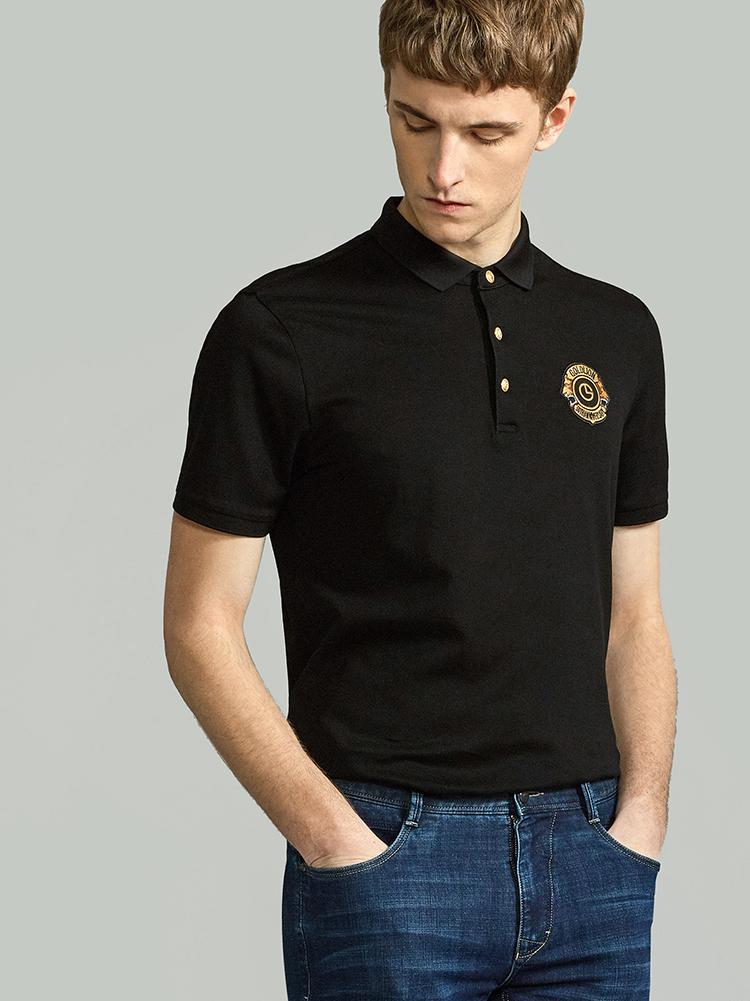 金利来 男士50周年纪念款徽章翻领商务休闲短袖T恤 ETSEC953081
