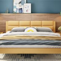 A家家具 北欧储物软包皮床 1.5米简易款 床