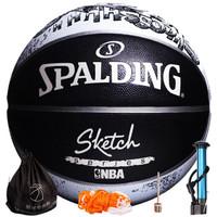 SPALDING 斯伯丁 素描系列 室外橡胶篮球  素描胶球  83-534Y (黑白、7号)