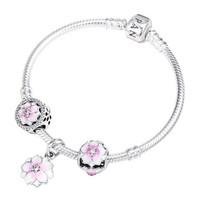 PANDORA 潘多拉 LZPDL0082 925银 粉色木兰花串珠手链