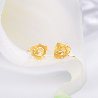 明牌珠宝 AFH0063 黄金耳钉 足金RoseGarden玫瑰花耳钉耳饰