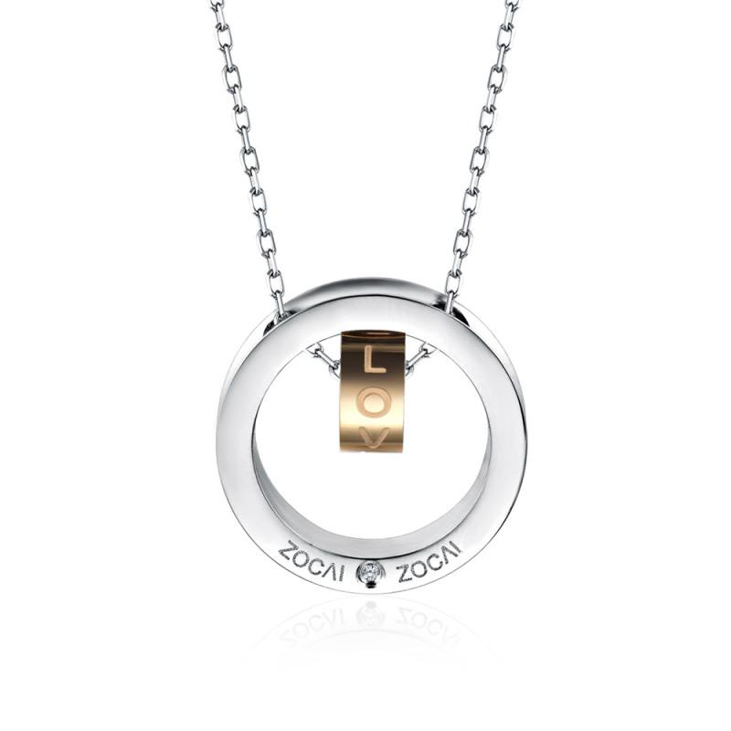 Zocai/佐卡伊珠宝 旋转的爱时尚钻石项链 D04916