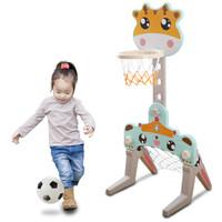 儿童篮球架 可升降投篮框 长颈鹿篮球架标准版(篮球+足球+贴纸)