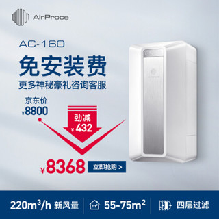 AirProce 艾泊斯 AC160 壁挂新风机空气净化器 白色 (白色)