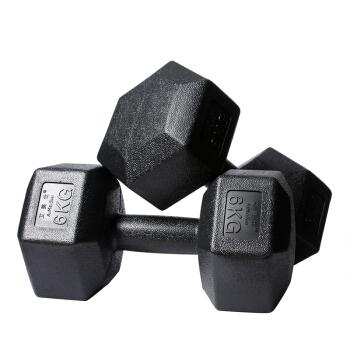 艾美仕AiMeiShi 环保包胶六角哑铃男士5kg10kg20kg家用健身器材 10KG一副=5KG*2   YH-1038