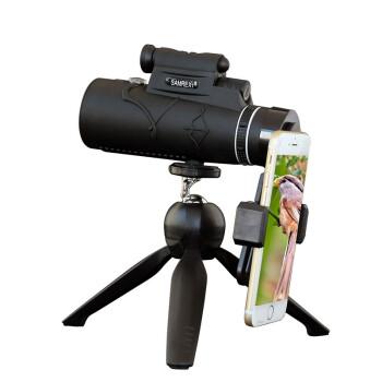 PLADI 100倍手机拍照单筒望远镜 高倍高清夜视非红外演唱会儿童成人望眼镜军工超清版100X90单筒+稳定型手机夹+稳固三脚架  s001