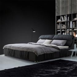 简约现代布艺床(含床垫)小户型可拆洗