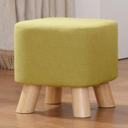 家逸 换鞋凳创意时尚圆凳实木矮凳布艺凳子沙发凳简约板凳小凳子(四腿方凳绿色)