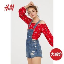 H&M DIVIDED女装牛仔裤 时尚街头牛仔背带短裤 HM0594921