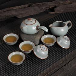 汝窑茶具十头汝窑茶具套装天青汝瓷茶具含礼盒